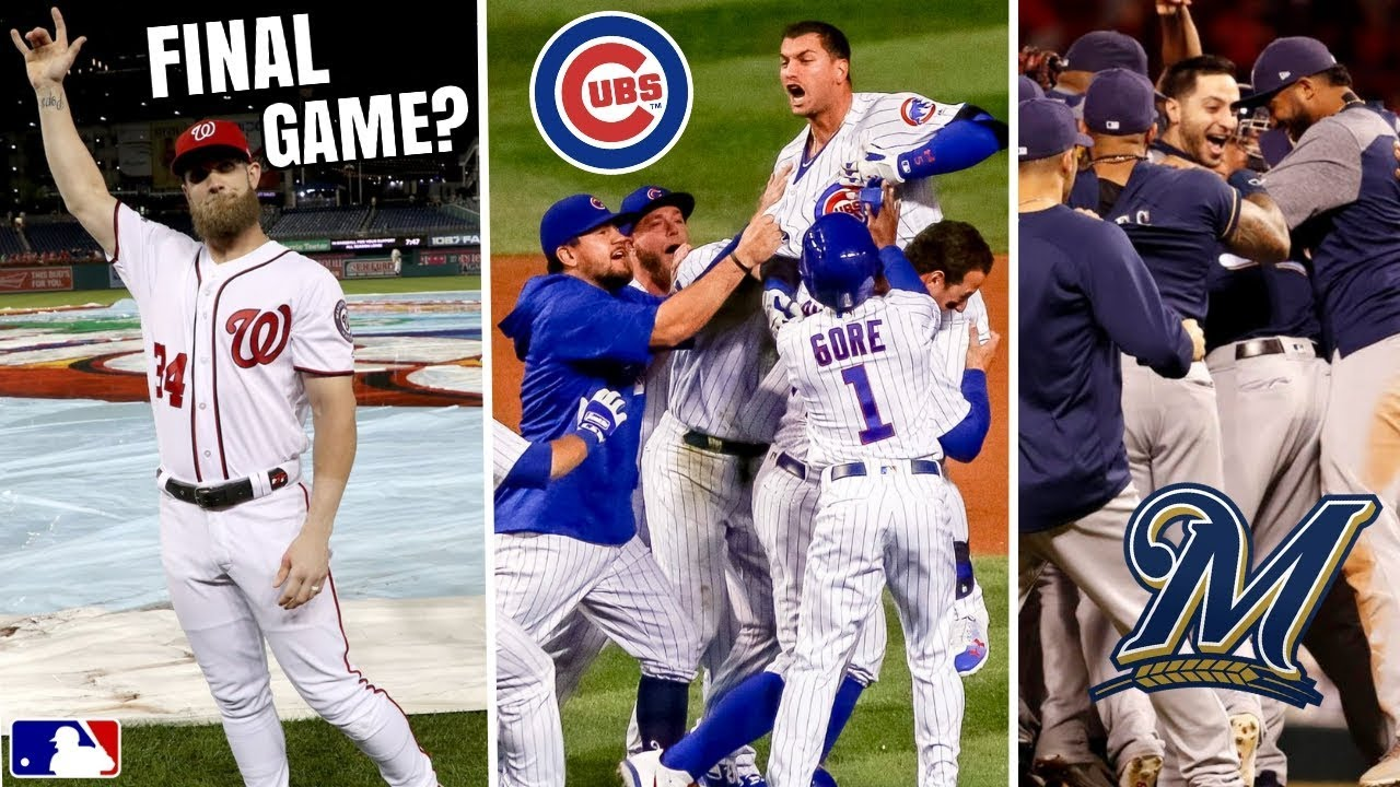super popular 9a77a 826bb Bryce Harper FINAL Game In DC? Chicago Cubs Walk Off, Brewers Clinch  Playoff Spot! MLB Recap