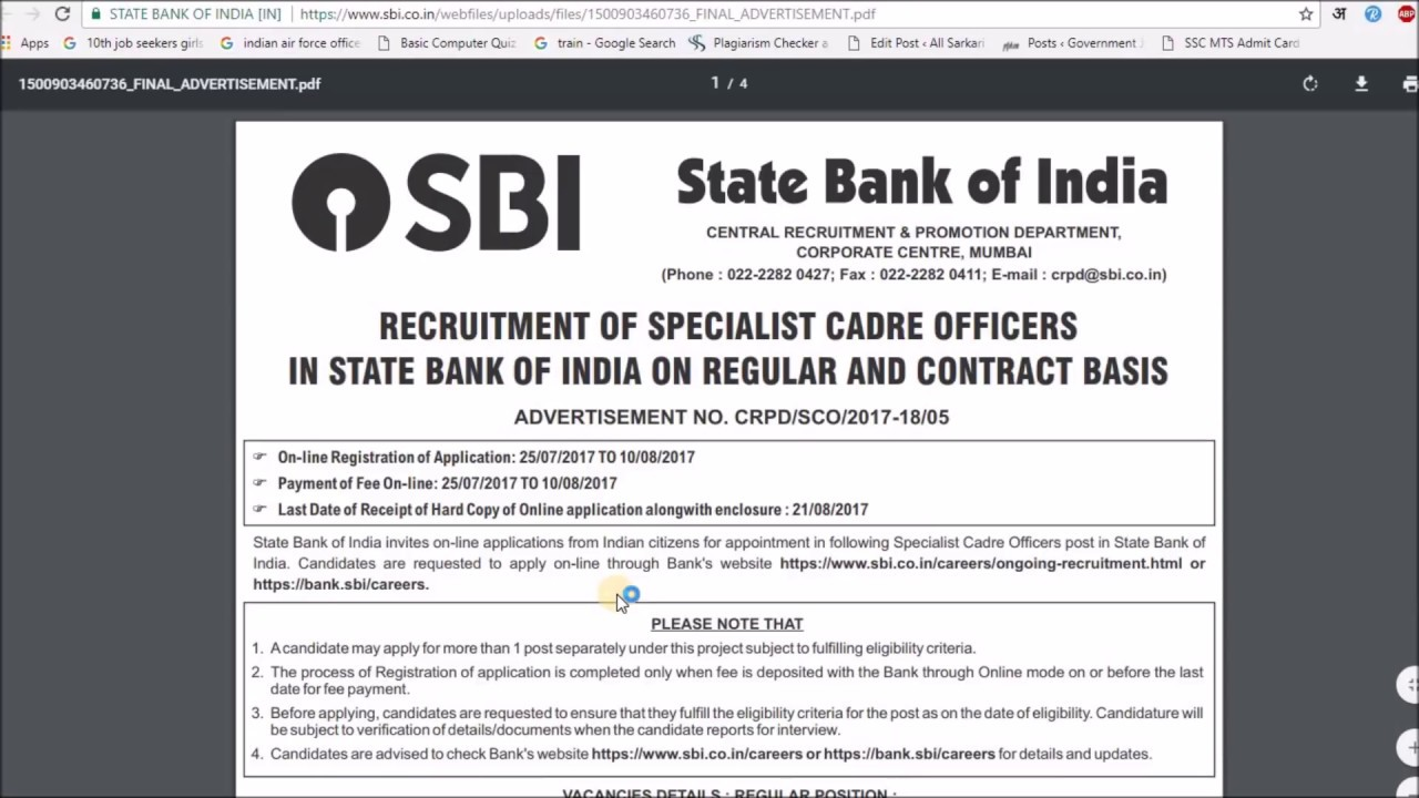 State Bank of India (SBI) Recruitment 2018 | Bank Jobs | Apply Now on law jobs, church jobs, private sector jobs, industry jobs, physics jobs, english jobs, railway jobs, hr jobs,
