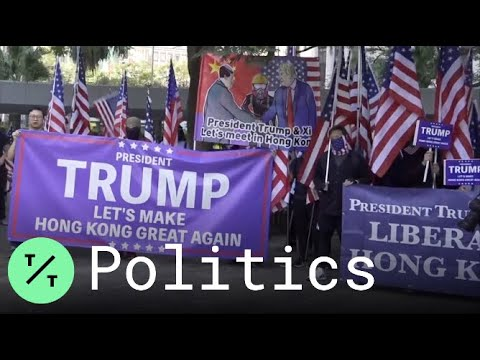 Pro-Democracy Protesters March To U.S. Consulate To 'Make Hong Kong Great Again'