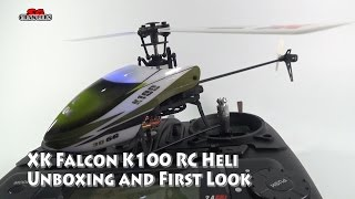 XK Falcon K100 6CH Flybarless RC Helicopter BNF unboxing and first look