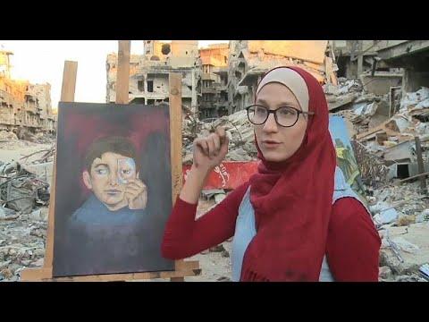 يورو نيوز:شاهد: رسامون فلسطينيون يعودون لمخيم اليرموك لرسم الأمل