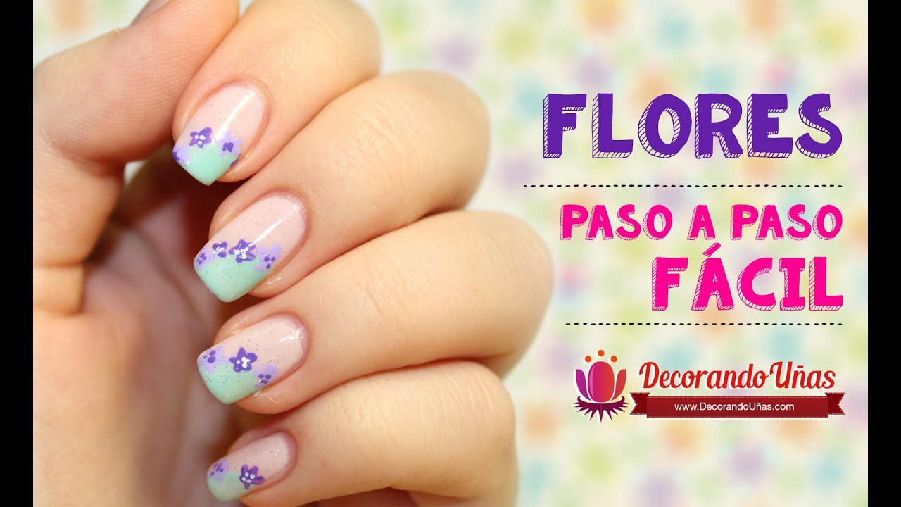 Decoraci n de u as f cil flores youtube for Decoracion de unas de rosas