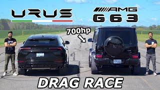 Lamborghini Urus vs 700HP Mercedes-AMG G63 // DŔAG & ROLL RACE