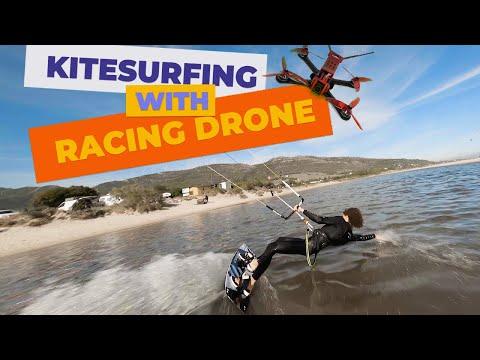 Big Air Kitesurfing + FPV Racing Drone   Janek ft. Cola