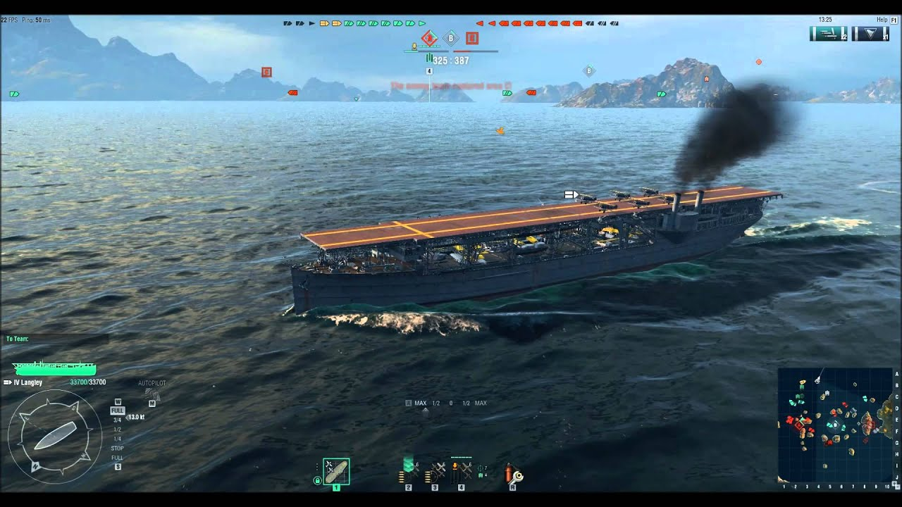 World Of Warships: Beta Gameplay Langley Aircraft Carrier - YouTube