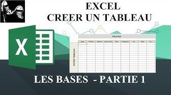 EXCEL - CRÉER UN TABLEAU - LES BASES - PARTIE 1