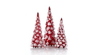 Winter Lane Set of 3 Lighted Mercury Glass Glitter Trees