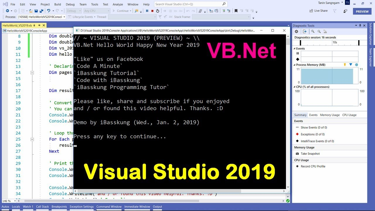 Visual Studio 2019 (VB NET) : How to Create Your First Program (Super Hello  World + Source Code)