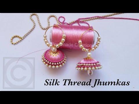 How To Make Silk Thread Jhumkas Hoop Style  Beautiful Pink jhumkas with Pearls