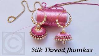 How To Make Silk Thread Jhumkas Hoop Style||Beautiful Pink jhumkas with Pearls