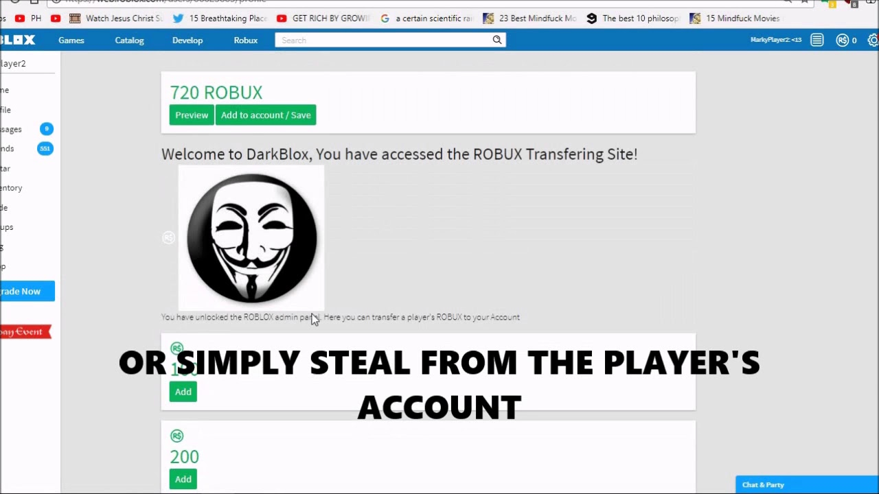 Transfer Robux To Your Account Hacking Dantdm Drtrayblox Youtube