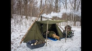 Michigan Bushcraft Winter Gathering 2018, Charlie's Double wide Lavvu!
