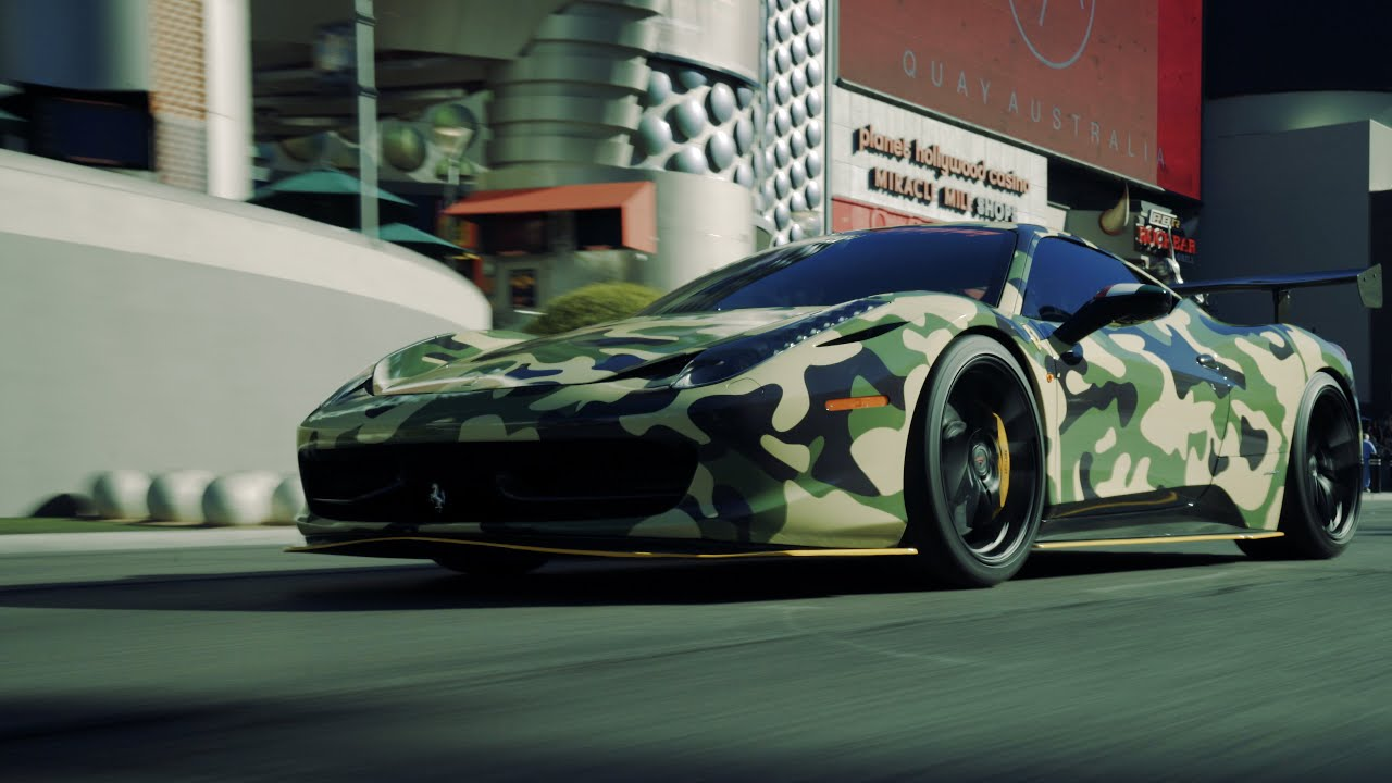 Camo D Ferrari 458 Italia Is Craving For Attention Heads To Vegas For Some Fun Carscoops