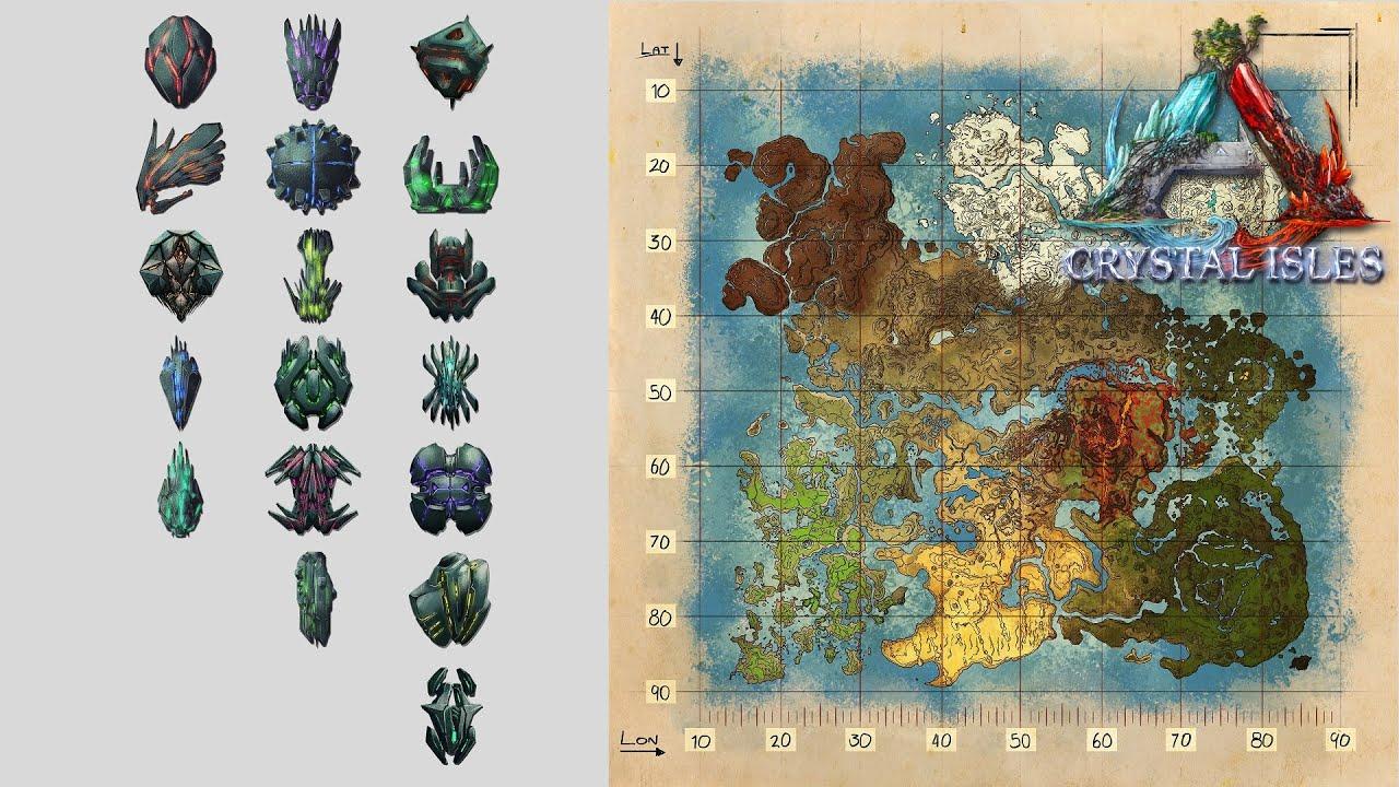 《方舟水晶島全18個神器位置》 方舟生存進化萌新干貨系列 - YouTube