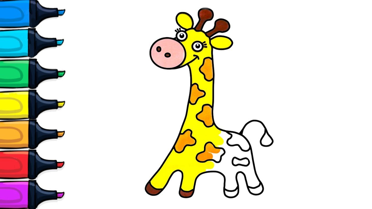 how to draw and color giraffe color and draw for children