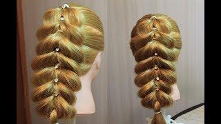 Французская коса на резинках из 3 прядей