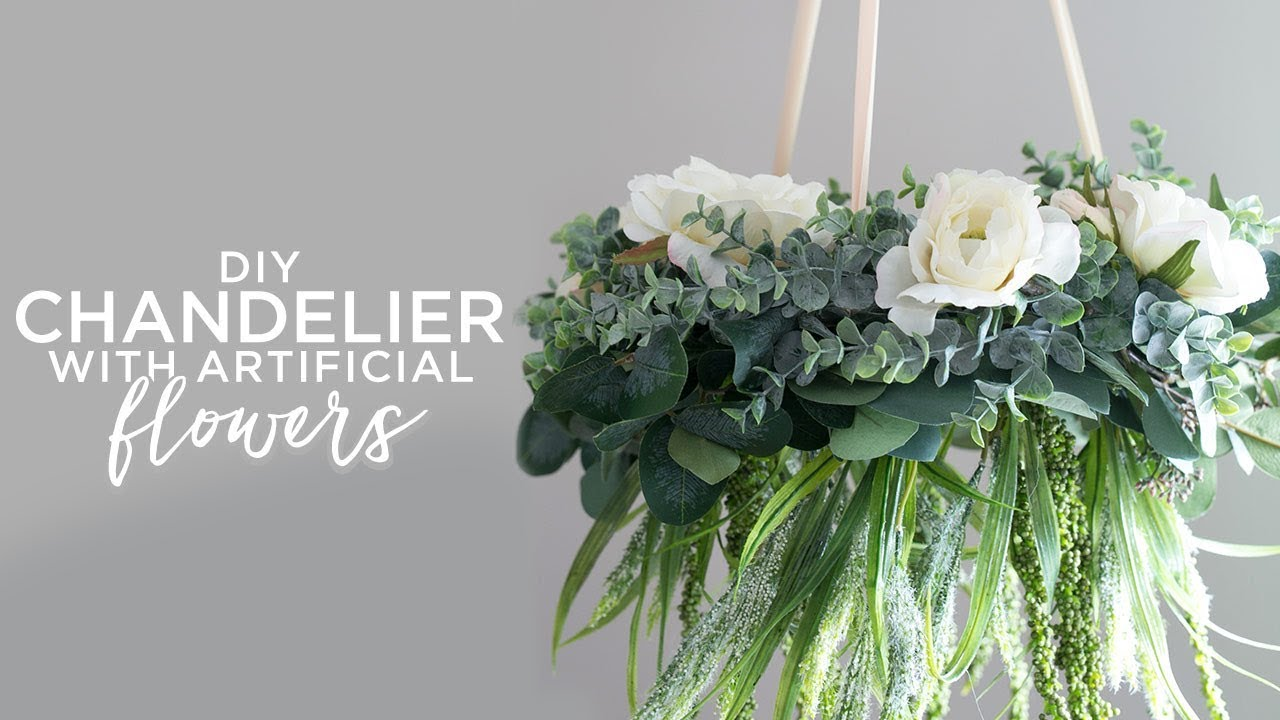 Diy Chandelier With Artificial Flowers Youtube