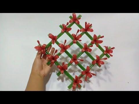 Cara Membuat Hiasan Dinding Bunga Cantik Dari Sedotan Tanpa Lem