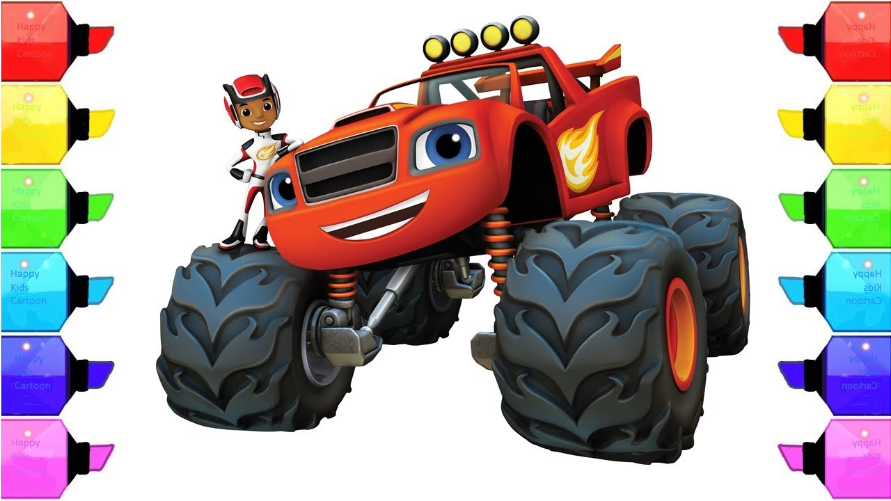 Racing car blaze and the monster machines coloring pages for Blaze cartoni