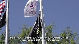 Black Lives Matter flag-raising at Gresham City Hall