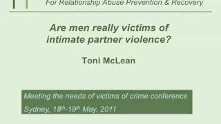 Meeting the needs of male victims of domestic and family violence - Part 2 of 7