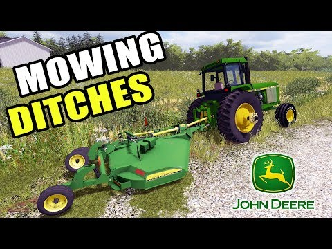 FARMING SIMULATOR 2017 | NEW BATWING MOWER + MOWING DITCHES W/THE 4640 | IOWA MAP