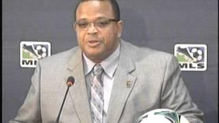 CFU President Gordon Derrick, announcing the MLS/CFU Partnership
