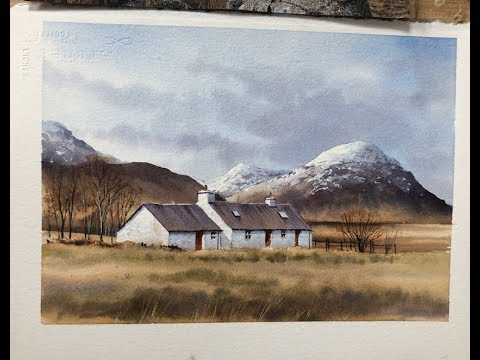 Black Rock Cottages, Glencoe Geoff Kersey ⎮ Watercolour Landscapes