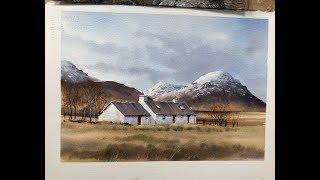 Black Rock Cottages, Glencoe Geoff Kersey ⎮ Watercolour Landscapes