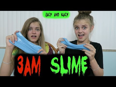 Making Slime at 3 AM ~ Scary Challenge ~ Jacy and Kacy