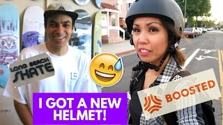 BOOSTED BOARD 2 REVIEW and HELMET - COMMUTING TO WEWORK LONG BEACH SKATE | Vlog 118