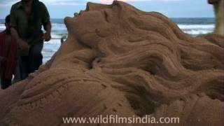 Puri Beach famous for its sand art and magnificent sunset view