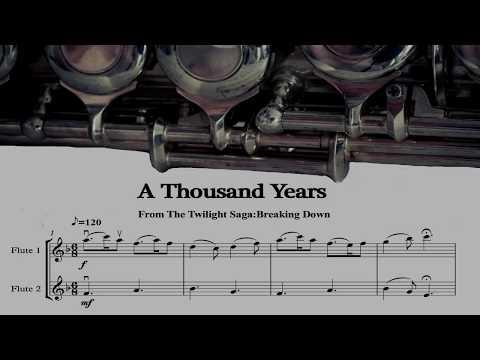 A Thousand Years Flute Duet Arrangement Sheet Music Available