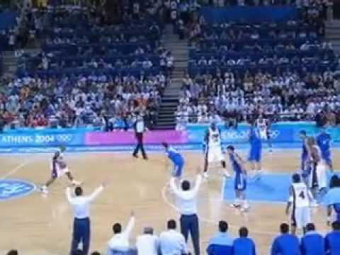 Athens 2004: Greece hits 3 pointer vs Team USA (basketball)