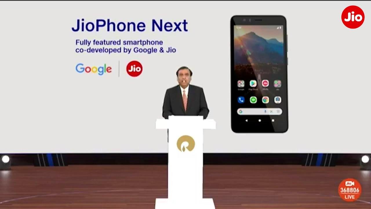 Mukesh D. Ambani announces the launch of JioPhone Next