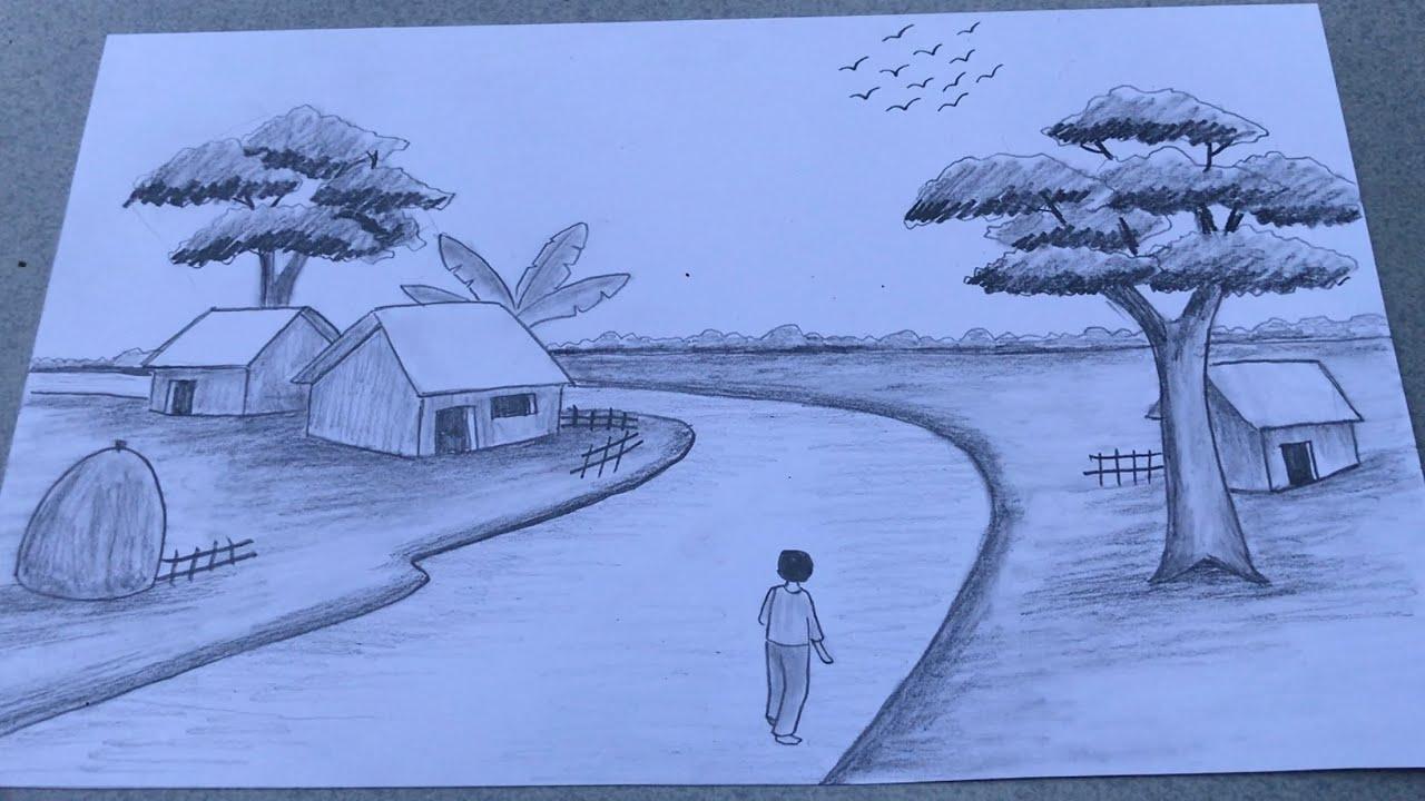 vẽ tranh phong cảnh bằng bút chì | how to draw landscape with pencil