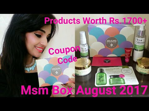 MSM Box August 2017  | Coupon Code for Discount  & Free Product | Unboxing + Review by Ritu Kapoor