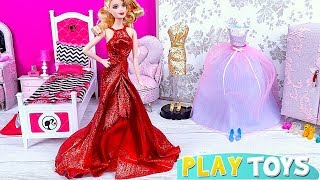 Play Barbie Girl Glam Gown Dress Toys!