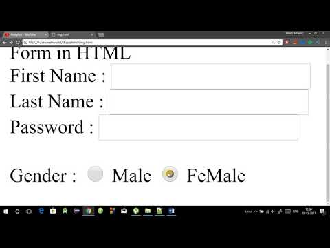 HTML Tutorial In Hindi - Part 8 - Form Tag In Html In Hindi (Textbox, Password,Radiobutton,Checkbox)