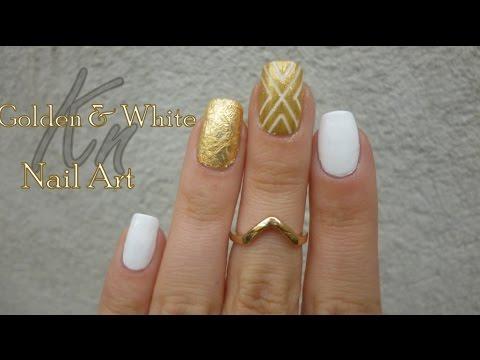 Gold White Nail Art Youtube