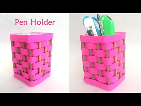 DIY- How to make pen stand /pencil holder / desk organizer from paper?Paper Craft Idea | Reuse craft