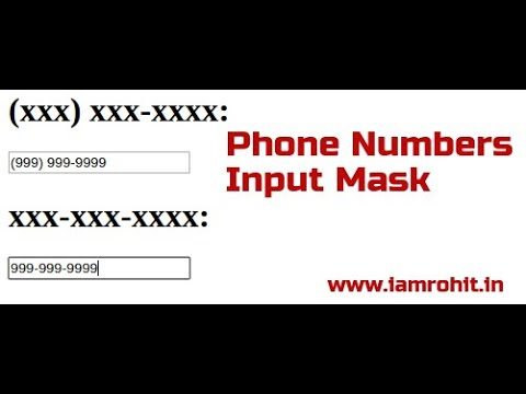Phone Numbers Input Mask jQuery Plugin Demo