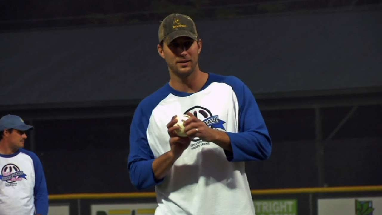 wainwright pitches at charity wiffle ball game youtube