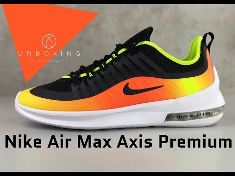 nike-air-max-axis-premium-'blk/blk-volt-total-orange'-|-unboxing-&-on-feet-|-fashion-shoes