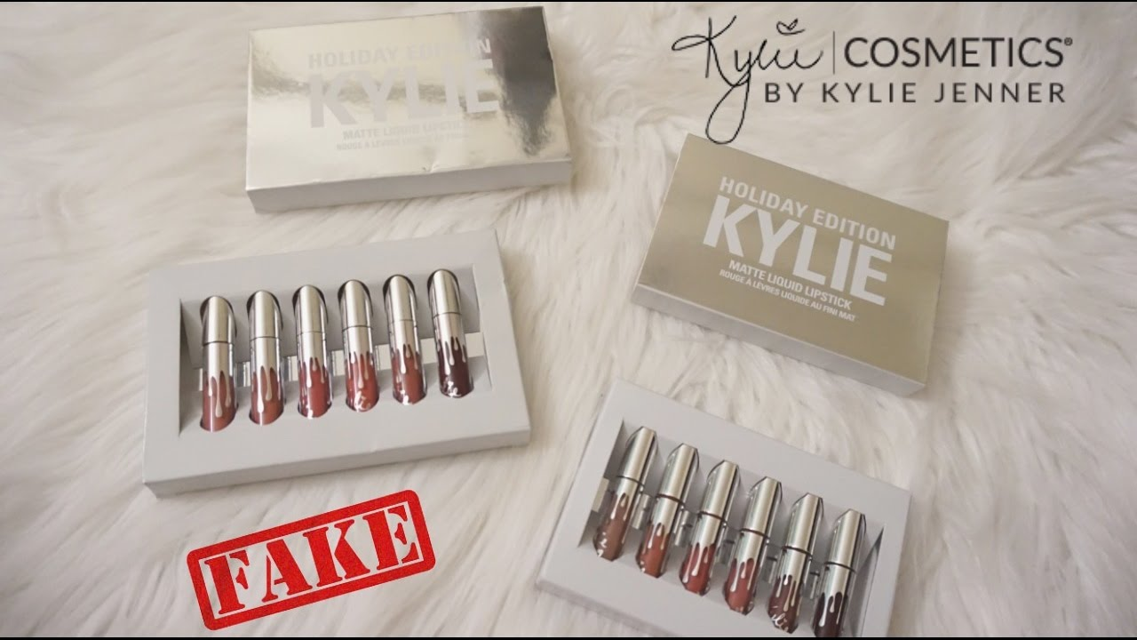 Real Vs Fake Kylie Cosmetics Holiday Edition Mini Matte