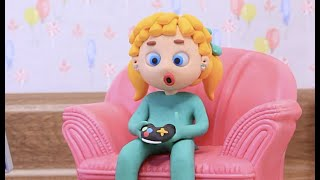 Too much PSP for kids 💕 Superhero Play Doh Stop motion cartoons