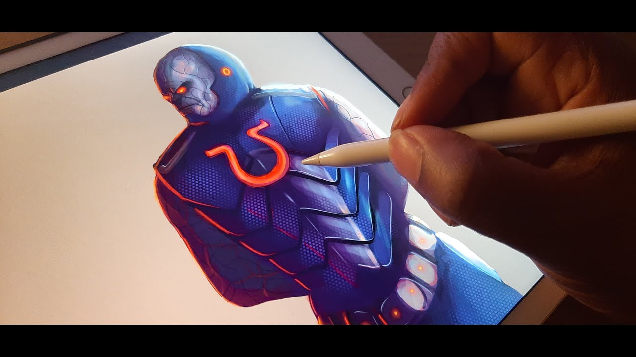 Now I'm drawing the bad guys from DC comics on my ipad pro! First up is Darkseid! :D