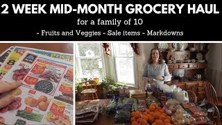 2-week Mid-month Grocery Haul: Family of 10 with Markdowns and Sale