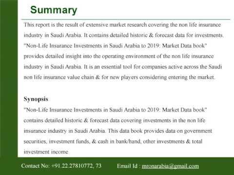 Non-Life Insurance Investments in Saudi Arabia to 2019: Market Data book
