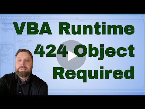 VBA Run-time error '424' Object Required Error